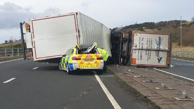 Aftermath: Lorries toppled on A1.