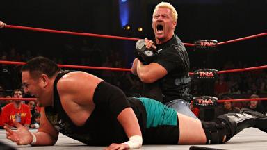 In town: Jeff Jarrett, pictured taking on Samoa Joe, will be in East Kilbride tonight