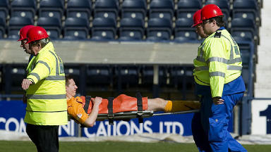 Steven Saunders lasted just nine minutes of Motherwell's 3-1 defeat at Kilmarnock.