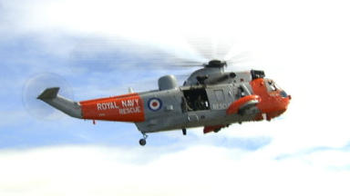 Rescue helicopter: Navy Sea King sent to the scene.