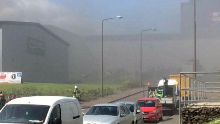 Response: The blaze caused large plumes of smoke.