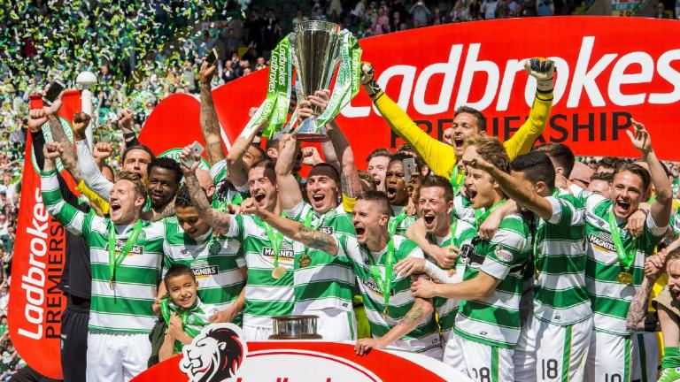 Celtic to lift the Premiership trophy against Hearts