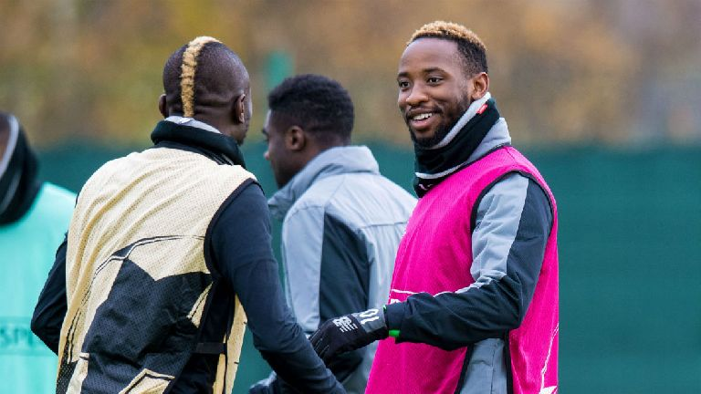 Moussa Dembele leads the line for Celtic against Bayern