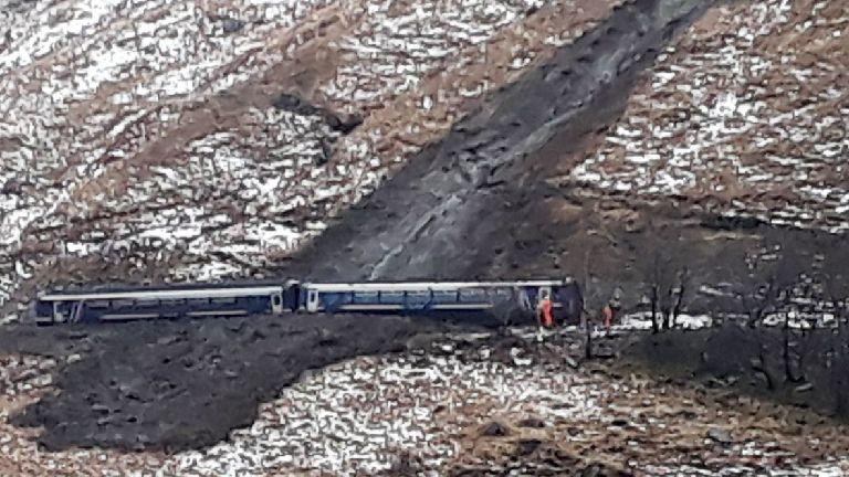 Landslip derails train leaving passengers stranded