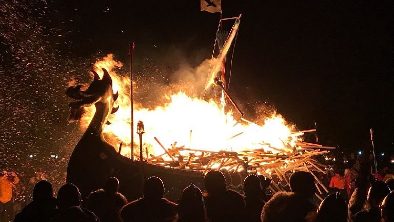 Thousands turn out for Up Helly Aa festival in Shetland
