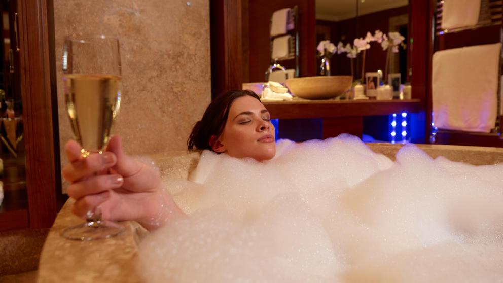 Woman in bath at Stobo Castle