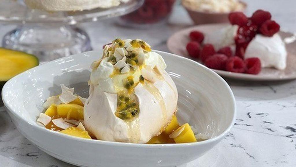 John Torode's passion fruit and mango pavlova