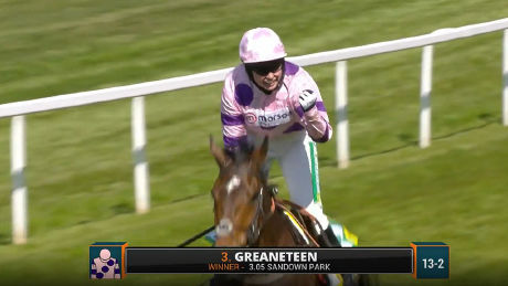 Greaneteen chases down Altior to win the bet365 Celebration Chase