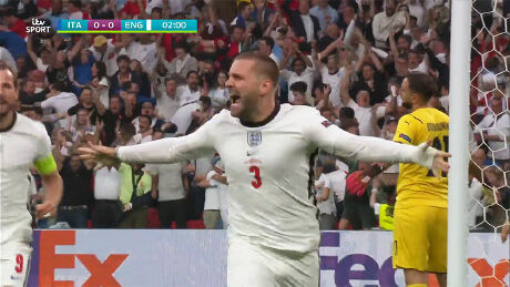 Luke Shaw gives England the lead in the Euro 2020 final